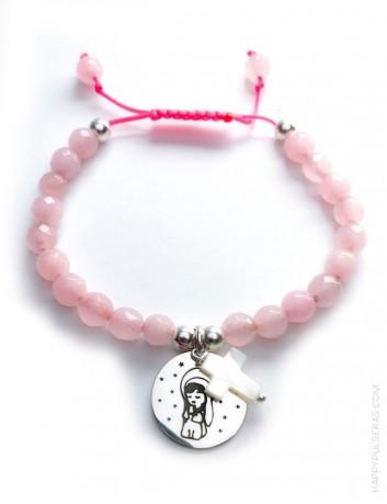 regalo original pulsera niña ajustable de comunión, con medalla para grabar lo que te guste. Personaliza pulsera comunión
