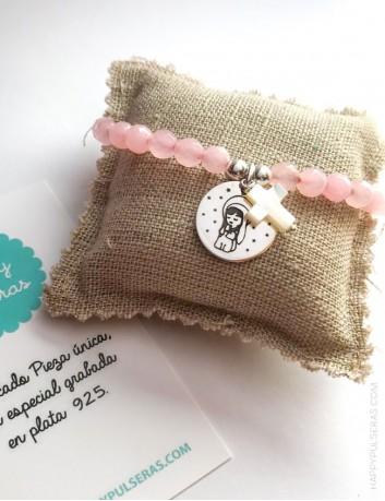jewerly online regalo original para comuniones pulsera de piedra natural con medalla virgen o para grabar lo que te guste.