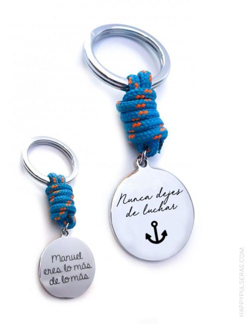 regalo para hombre original llavero de cordón náutico que puedes personalizar con la frase que te guste