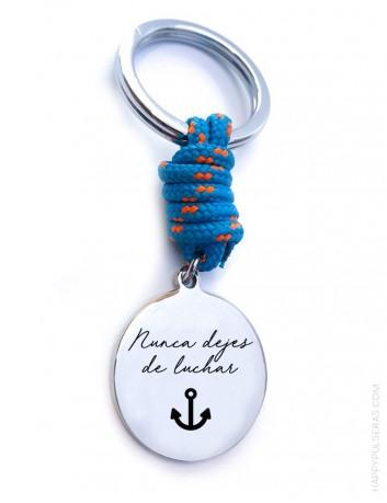 regalo original llavero para hombre de acero y cordón náutico , con medalla para grabar la dedicatoria que te guste