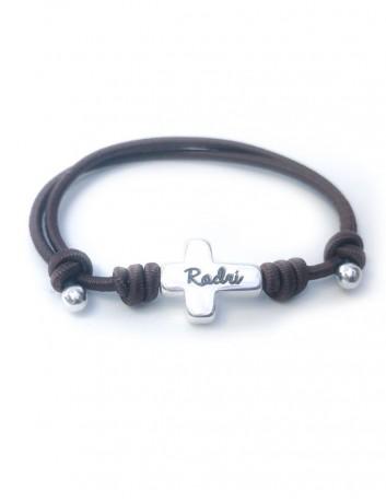 097747592b9e Ideal  pulsera de niños elástica con cruz de plata que puedes grabar el  nombre ...