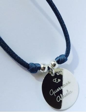 Cordón elástico seda con medalla plata grabada con foto o texto grabado por detrás
