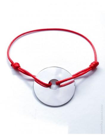 jewerly online pulsera plata para grabar texto que quieras cordón encerado en color rojo