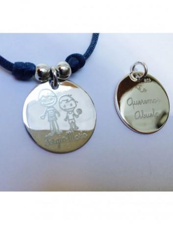 Cordón elástico seda con medalla plata grabada con foto o texto a dos caras azul petróleo