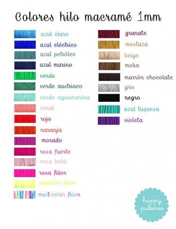 carta de color de lo hilos de macramé para elegir el que más te guste. Happy pulseras macramé muchos colores Madrid.