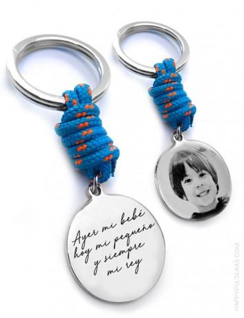 regalo para hombre original llavero de cordón náutico que puedes personalizar con foto y la frase que te guste