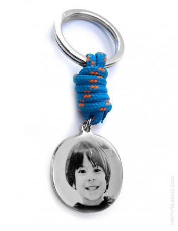 regalo original llavero para hombre de acero y cordón náutico , con medalla para grabar una foto en llavero