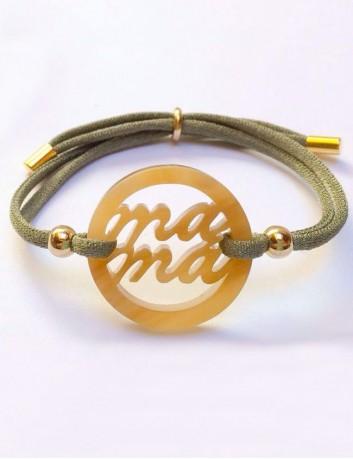 pulsera acrílico redonda mamá con cordón de seda de colores, elige el que te guste. Regalo original para mamá