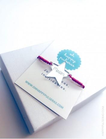 regalo original pulsera con estrella grabada, detalles a buen precio grabados con tu nombre