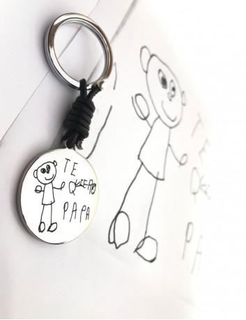 regalo para hombre llavero de acero y cuero con medalla de 35 mm. grabada con dibujo o escrito a mano
