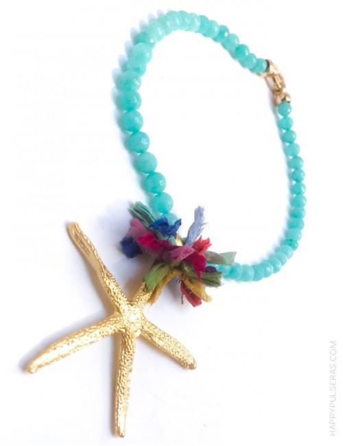 jewelry online madrid collar piedras naturales con estrella mar dorada y pompón de seda de colores. Azul turquesa