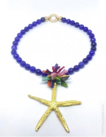 bb47e04ab ... jewelry online madrid collar piedras naturales con estrella mar dorada  y pompón de seda de colores ...