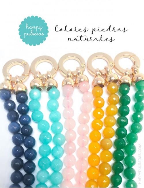 jewelry online madrid collar piedras naturales con estrella mar dorada y pompón de seda de colores. Varios colores
