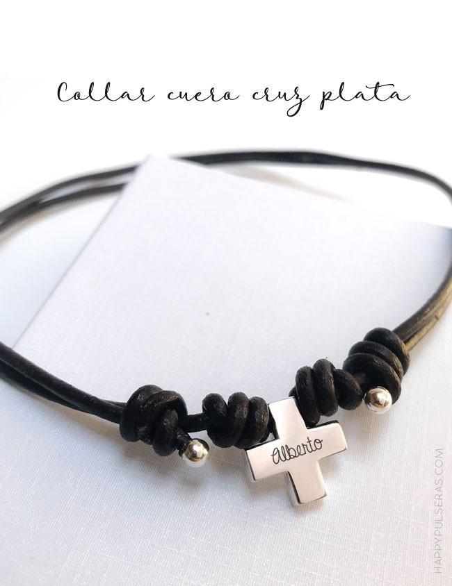2d13efbea732 collar corto con colgante cruz griega en plata grabada con nombre y fecha  con cordón de. Happy pulseras