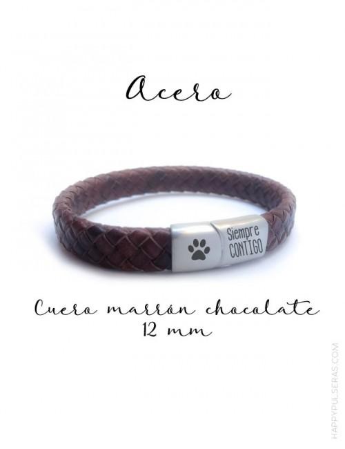 regalo para hombres sencilla pulsera de cuero con estilo, con nombre o dedicatoria grabada. Marrón chocolate