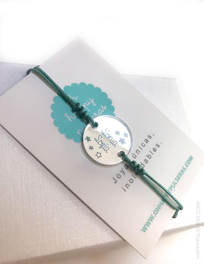 regalo original pulsera personalizada con nombre decorado con alguna imagen que te guste de archivo