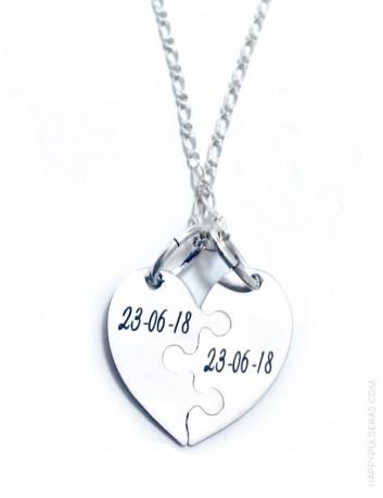 jewelry online madrid cadena con colgante plata corazón partido para grabar nombres, y fechas por detrás
