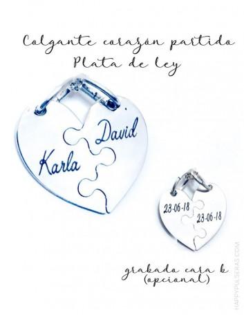 jewelry online madrid colgante plata corazón partido pieza puzzle para grabar los nombres
