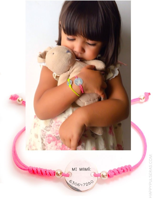 pulseras con teléfono para niños, o información de alergias