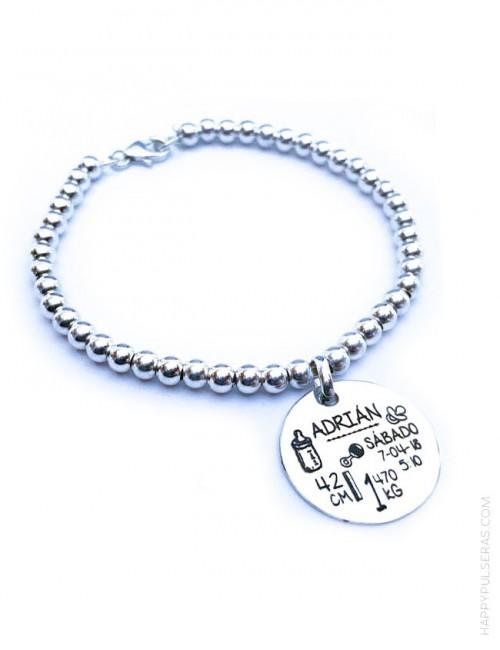 Pulsera natalicio de plata bolitas de 4 mm con medalla de 20 mm grabada con datos nacimiento bebe