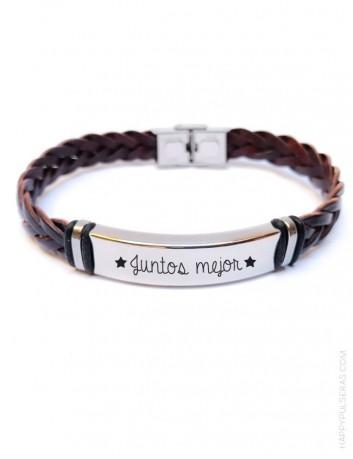 regalo para hombre personalizado, pulsera de cuero trenzada con dedicatoria en marrón chocolate