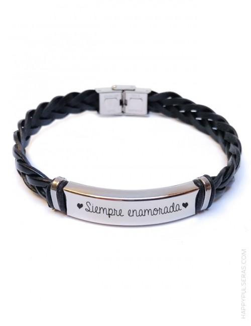 regalo para hombres, pulsera de cuero y acero trenzada personalizada con su nombre o frase- color negro
