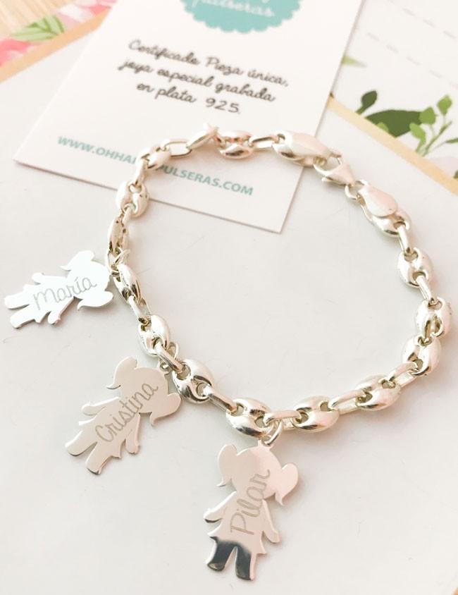 8862cd64cd67 pulsera plata calabrote con abalorios niños que puedes personalizar con  nombre