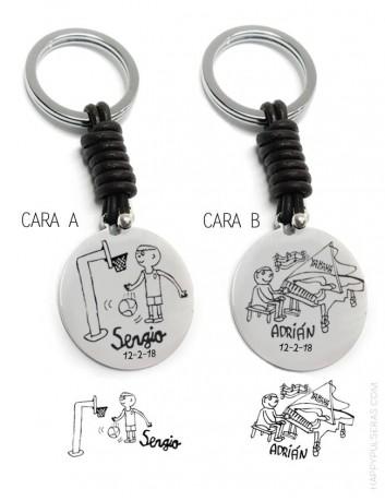 llavero-personalizado-grabado-con-dibujos-de-niños-regalo-para-papá