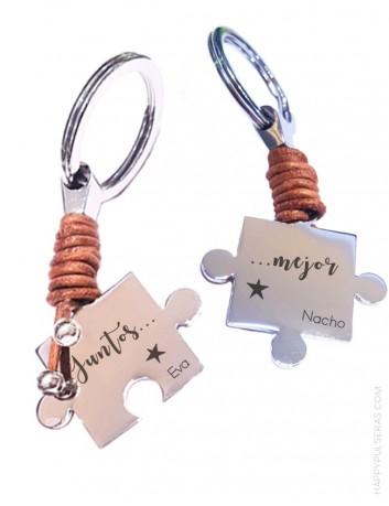 llavero personalizado acero y cuero piezas puzzle ideal para parejas, amigos...