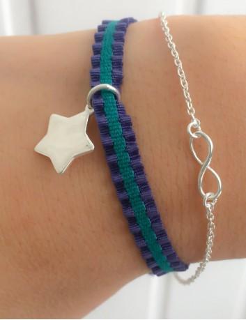 Pulsera cinta elástica marino y verde con estrella de plata grabada con nombre