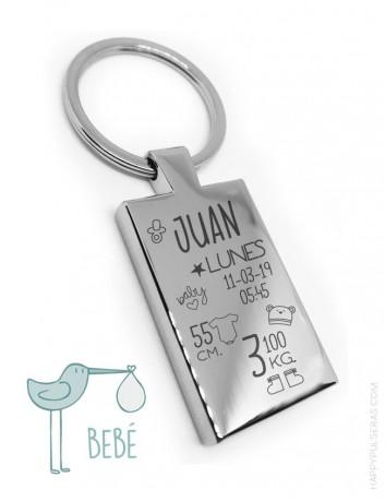 llavero natalicio personalizado en acero. graba los datos del nacimiento de tu bebé en un llavero.
