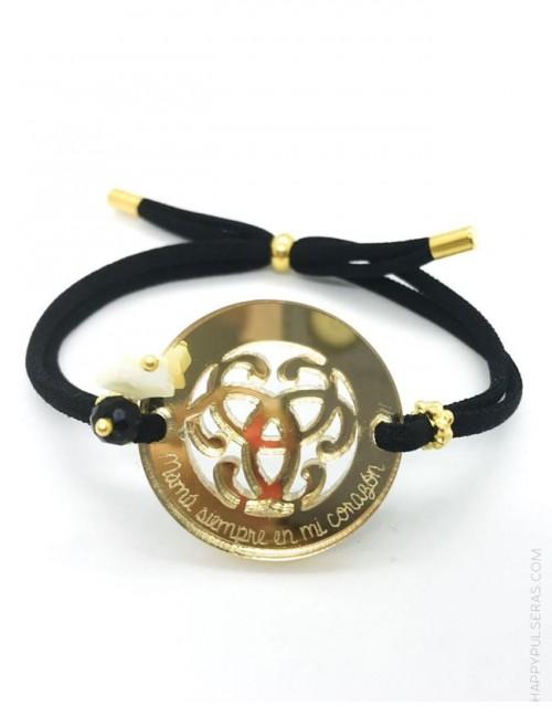 pulsera para regalar a mamá con adorno espejo dorado donde puedes grabar lo que quieras