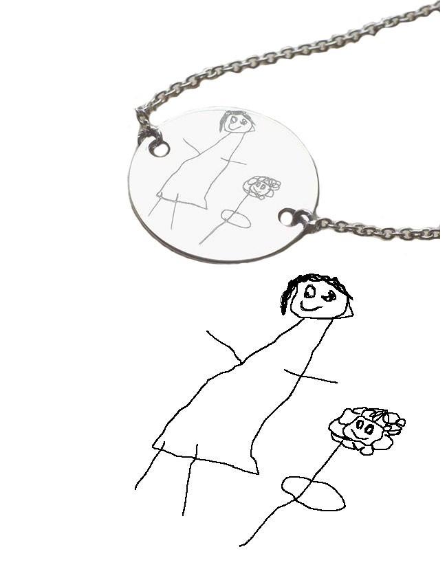 ideal llevar el dibujo de tu niño en una pulsera o colgante, en happy es posible!