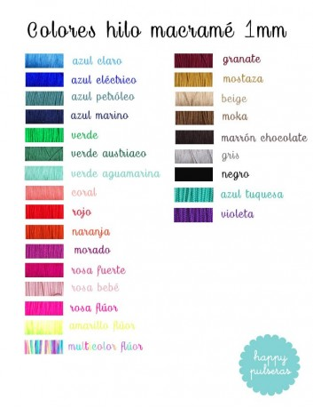 carta de color de lo hilos de macramé para elegir el que más te guste. Pulseras grabadas con teléfono en muchos colores