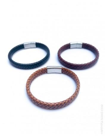 regalo para hombres sencilla pulsera de cuero con estilo, con nombre o dedicatoria grabada. Marrón chocolate, negro o natural