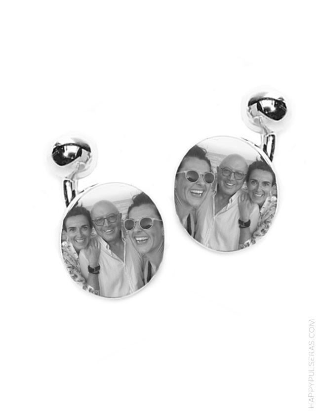 Gemelos plata personalizados con foto regalo original para papá
