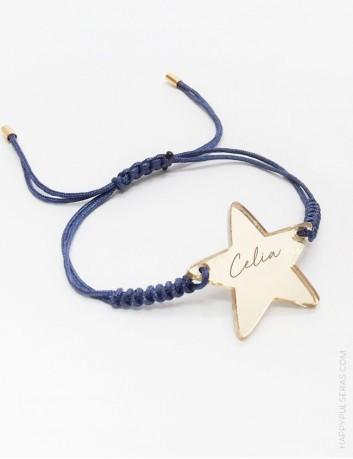 Pulsera estrella con hilo de macramé, con tu nombre grabado, estrella en oro efecto espejo o plata efecto espejo, ideales