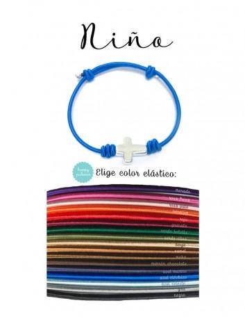 pulsera de elástico con cruz baño de plata, ajustable. Elige el color que más te guste. Ideal para comunión.