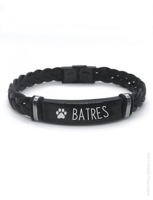 regalo para hombre personalizado, pulsera de cuero trenzada en titanio negro con nombre mascota