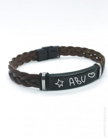 regalo para hombre personalizado, pulsera de cuero trenzada en titanio negro con escrito a mano- para abuelos