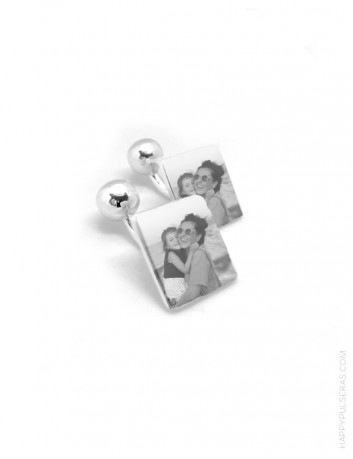 gift weeding gemelos de plata cuadrados grabados con foto. Gemelos para boda originales.