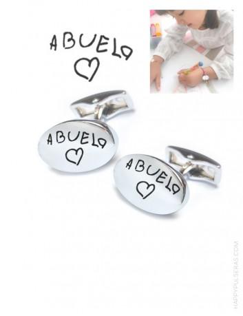 Gemelos de acero personalizados con el dibujo de tu peque. Regala al abuelo unos gemelos con dibujo de su nieta.