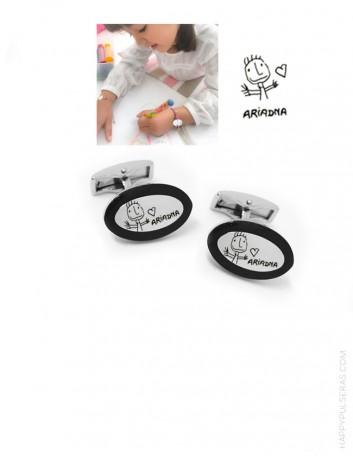 Gemelos personalizados grabados con el dibujo de un niño- Resultados espectaculares