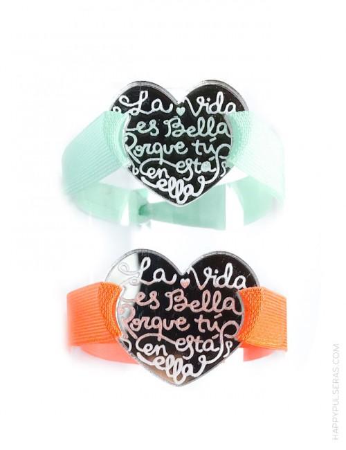 Pulsera corazón la vida es bella con elástico plano ancho en color verde aguamarina. Pulseras personalizables de colores.