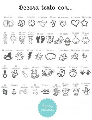 Si no sabes qué grabar en tu llavero personalizado, te damos algunas iconos que puedes usar para decorar tu texto