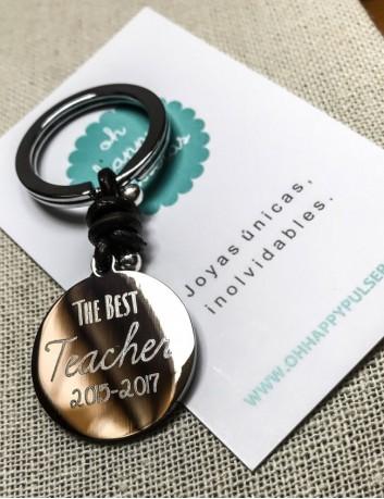 llavero acero para profesores con frase dedicada de acero y cuero. regalo barato para profesor