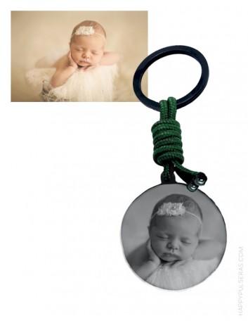 llavero personalizado con un foto del bebe. Regalo para nacimiento del bebé-regalo original