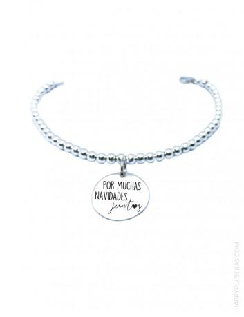 pulsera bolitas plata personalizable en nuestra joyería de bisutería artesanal online de regalos personalizados