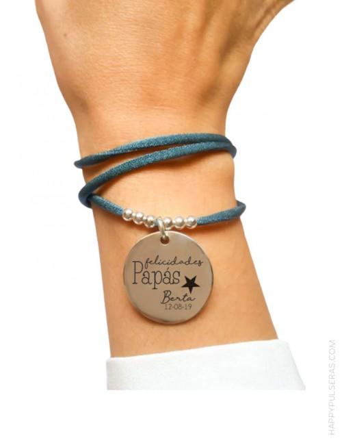 Medalla de plata personalizada ideal para regalar en el nacimiento del bebé- happypulseras.com