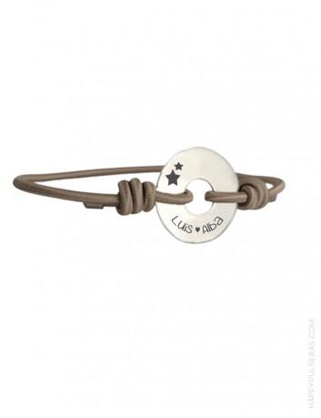 Pulsera de plata personalizable con el mensaje que quieras, nombres, fechas, dibujos... happypulseras.com